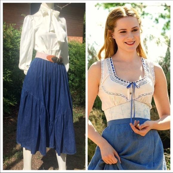 Vintage Dresses & Skirts - Vintage Western Denim Dolores Maxi Skirt Full